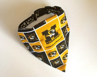 No-Tie, Slip Over Collar Dog Bandana, University of Missouri Classic Square Team Fabric