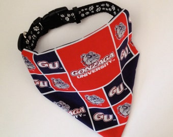 No-Tie, Slip Over Collar Dog Bandana, Gonzaga University, Classic Square Team Fabric