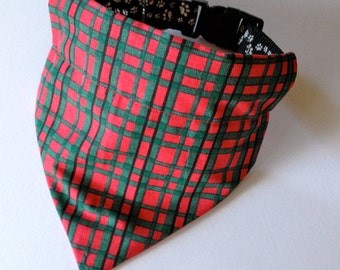 Christmas, No-Tie, Slip Over Collar Dog Bandana, Red and Green Plaid (collar not included)