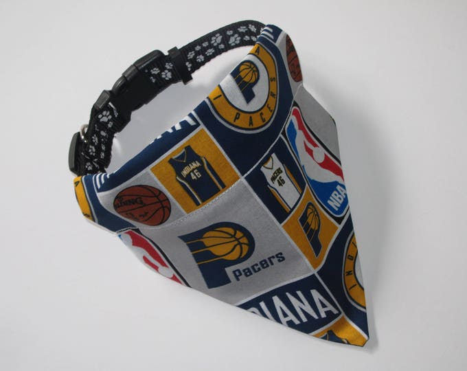 No-Tie, Slip Over Collar Dog Bandana, Indiana Pacers