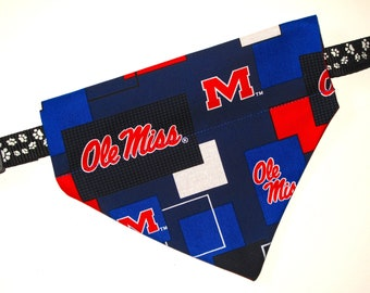 No-Tie, Slip Over Collar Pet Bandana, Ole Miss  (collar not included)