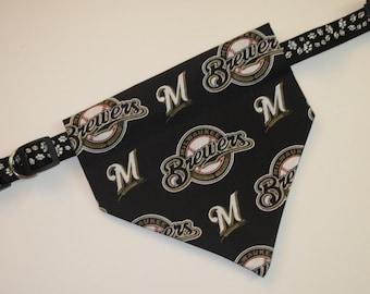 No-Tie, Slip Over Collar Dog Bandana, Milwaukee Brewers Fabric (collar not included)