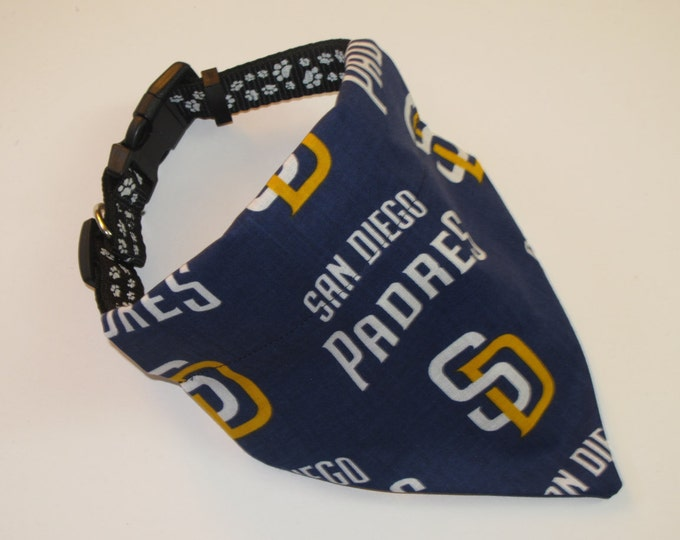 No-Tie, Slip Over Collar Dog Bandana, San Diego Padres Fabric (collar not included)