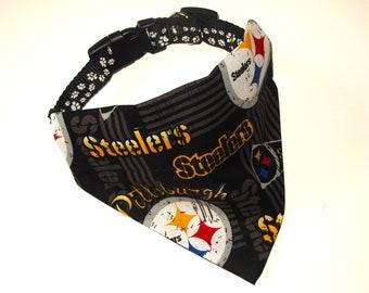 No-Tie, Slip Over Collar Pet Bandana, Pittsburgh Steelers (collar not included)
