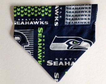 No-Tie, Slip Over Collar Dog Bandana, Seahawks Fabric (collar not included)