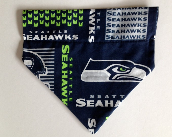No-Tie, Slip Over Collar Dog Bandana, Seahawks Fabric