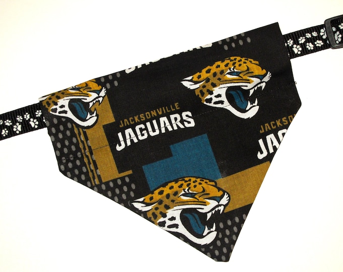 No-Tie, Slip Over Collar Dog Bandana, Jacksonville Jaguars (collar not included)