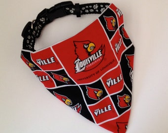 No-Tie, Slip Over Collar Dog Bandana, University of Louisville