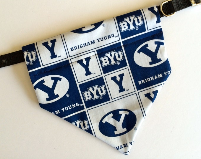 No-Tie, Slip Over Collar Dog Bandana, Brigham Young University Classic Square Fabric (collar not included)
