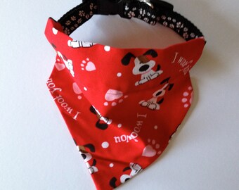 Red Dog Bandana, No-Tie, Slip Over Collar, I Woof You fabric, Dog and Paw Print on Red