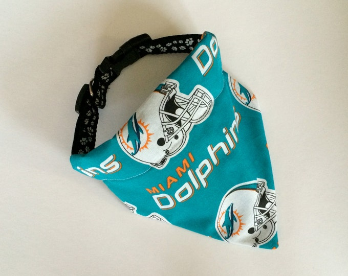 No-Tie, Slip Over Collar Dog Bandana, Miami Dolphins team Fabric
