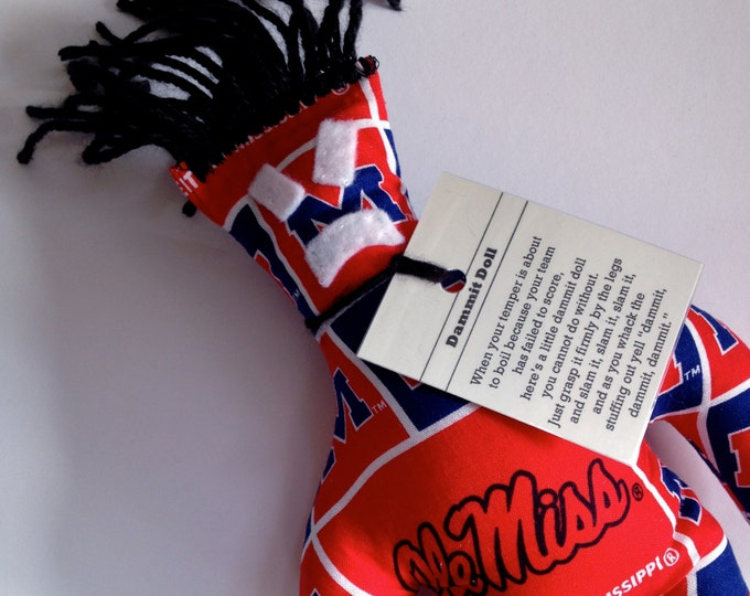 Dammit Doll, Ole Miss, Classic Square fabric, stress relief item