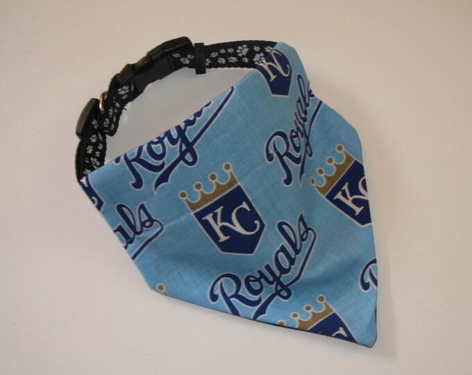 No-Tie, Slip Over Collar Dog Bandana, Kansas City Royals Fabric