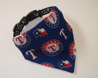 No-Tie, Slip Over Collar Dog Bandana, Texas Rangers Fabric