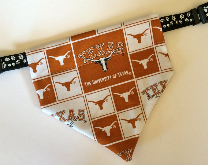 University of Texas, No-Tie, Slip Over Collar Dog Bandana, Univ. of Texas Classic Square Design (collar not included)