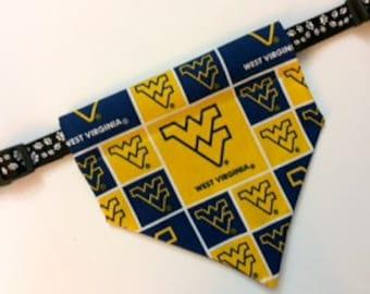 No-Tie, Slip Over Collar Dog Bandana, West Virginia Classic Square Team Fabric