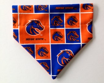No-Tie, Slip Over Collar Dog Bandana, Boise State Fabric