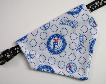 No-Tie, Slip Over Collar Dog Bandana, Philadelphia 76ers