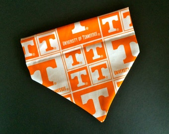 No-Tie, Slip Over Collar Dog Bandana, University of Tennessee Classic Square Team Fabric (collar not included)