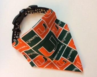 No-Tie, Slip Over Collar Dog Bandana, University of Miami Classic Square Team Fabric