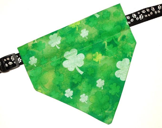 St Patrick's Pet Bandana, No-Tie, Slip Over Collar, Tossed Shamrocks  on Green