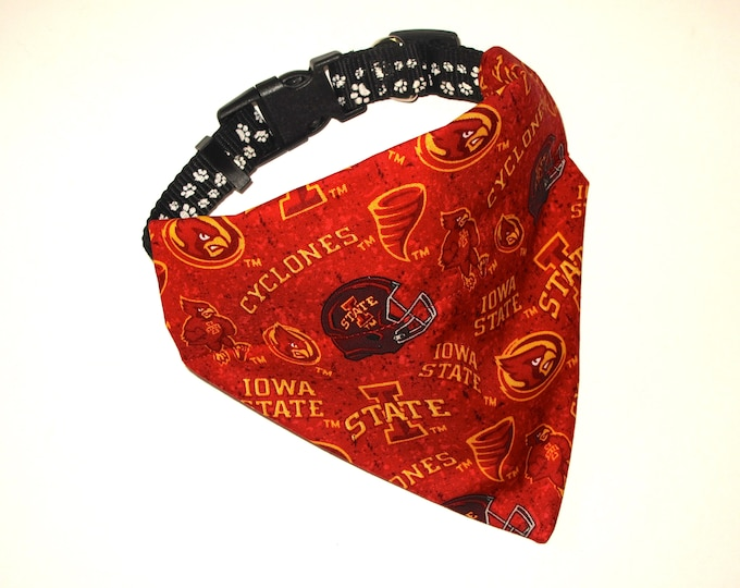 No-Tie, Slip Over Collar Pet Bandana, Iowa State, Team Fabric (collar not included)