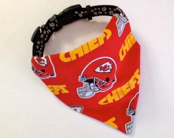 No-Tie, Slip Over Collar Dog Bandana, Kansas City Chiefs (collar not included)