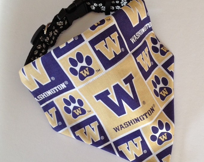 No-Tie, Slip Over Collar Dog Bandana, University of Washington Classic Square Team Fabric
