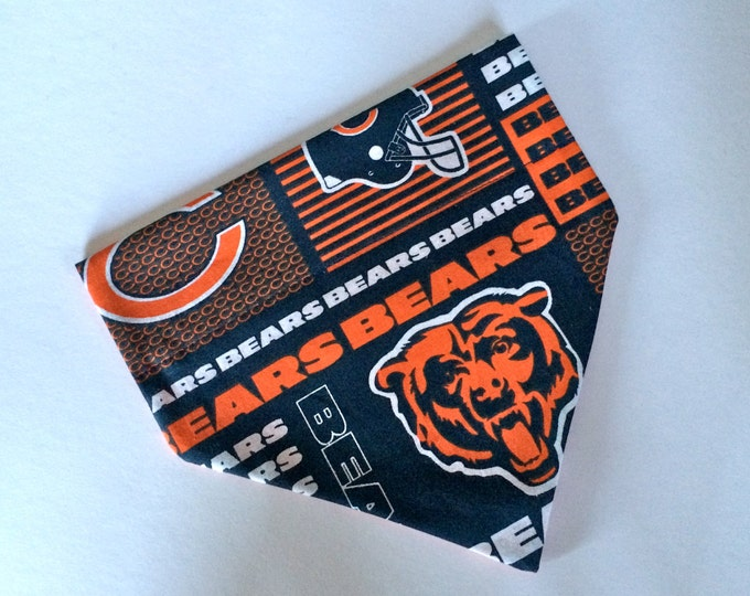 No-Tie, Slip Over Collar Dog Bandana, Chicago Bears