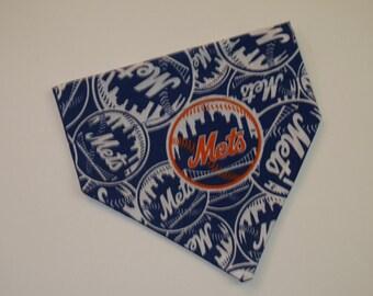 No-Tie, Slip Over Collar Dog Bandana, New York Mets Fabric (collar not included)