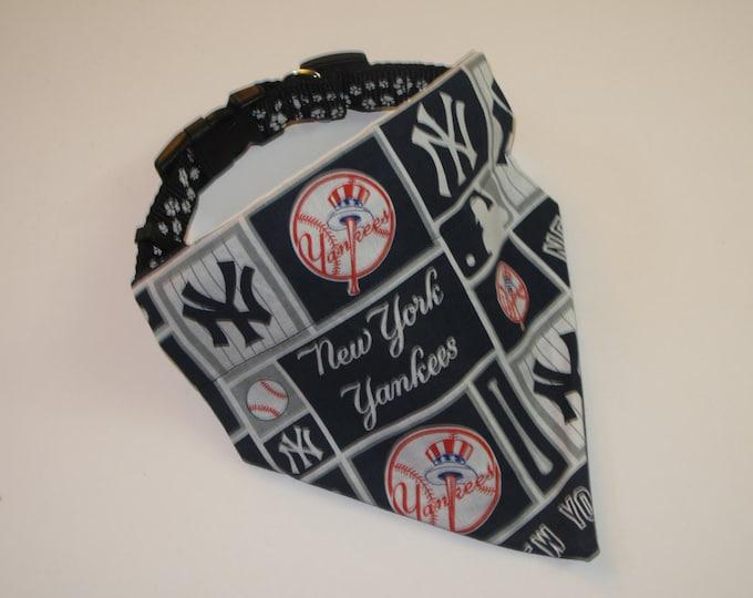 No-Tie, Slip Over Collar Dog Bandana, New York Yankees Fabric