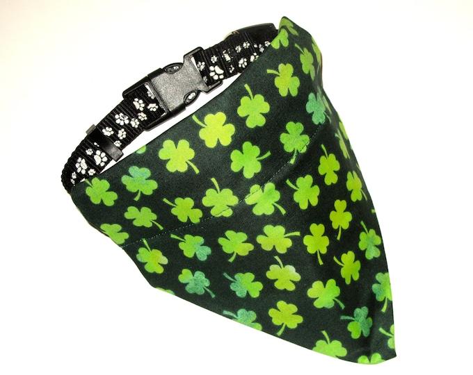 St Patrick's Dog Bandana, No-Tie, Slip Over Collar, Tossed Shamrock on Dark Green