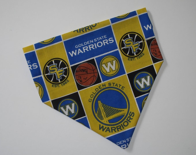 No-Tie, Slip Over Collar Dog Bandana, Golden State Warriors