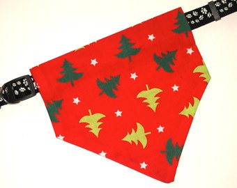 Christmas, No-Tie, Slip Over Collar Dog Bandana, tossed Christmas trees on Red (collar not included)