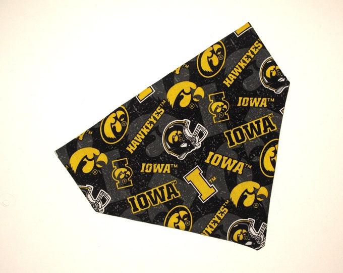 No-Tie, Slip Over Collar Pet Bandana, Iowa Hawkeyes (collar not included)