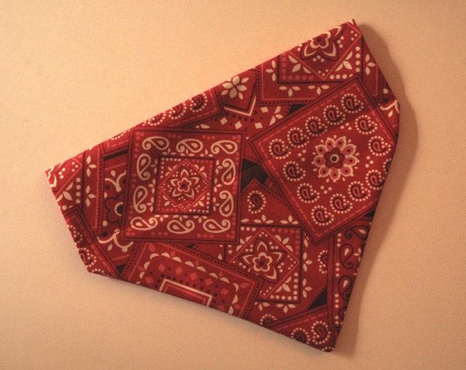 No-Tie, Slip Over Collar Dog Bandana, Classic Red Bandana Print (collar not included)