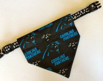 No-Tie, Slip Over Collar Dog Bandana, Carolina Panthers Fabric (collar not included)