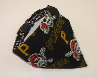 No-Tie, Slip Over Collar Dog Bandana, Pittsburgh Pirates Fabric