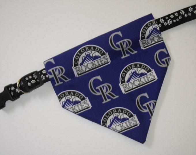 No-Tie, Slip Over Collar Dog Bandana, Colorado Rockies Fabric