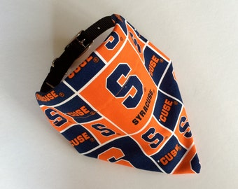 No-Tie, Slip Over Collar Dog Bandana, Syracuse University Classic Square Fabric (collar not included)