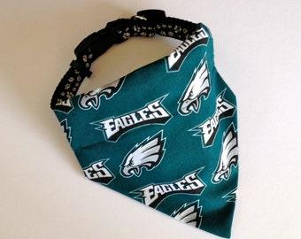 No-Tie, Slip Over Collar Dog Bandana, Philadelphia Eagles Team Fabric