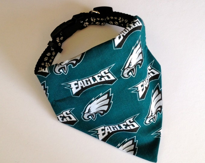 No-Tie, Slip Over Collar Dog Bandana, Philadelphia Eagles Team Fabric