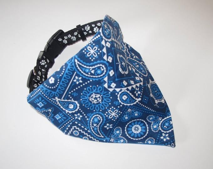 Blue Dog Bandana, No-Tie, Slip Over Collar, Blue Classic Bandana Print (collar not included)