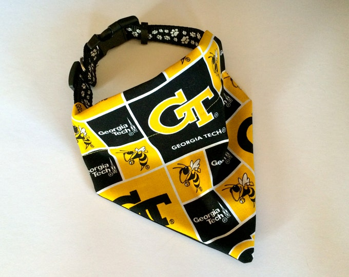 No-Tie, Slip Over Collar Dog Bandana, Georgia Tech, Classic Square Team Fabric