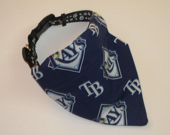 No-Tie, Slip Over Collar Dog Bandana, Tampa Bay Rays Fabric (collar not included)