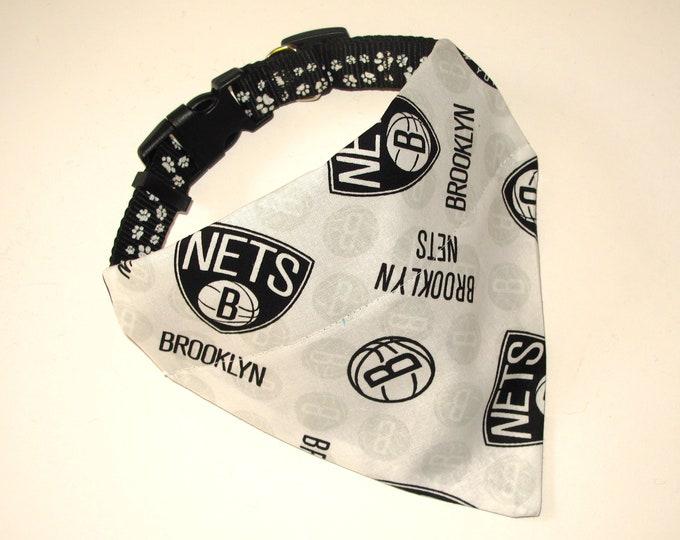 No-Tie, Slip Over Collar Pet Bandana, Brooklyn Nets (Collar Not Included)