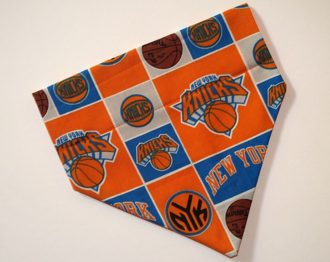 No-Tie, Slip Over Collar Dog Bandana, New York Knicks (Collar Not Included)