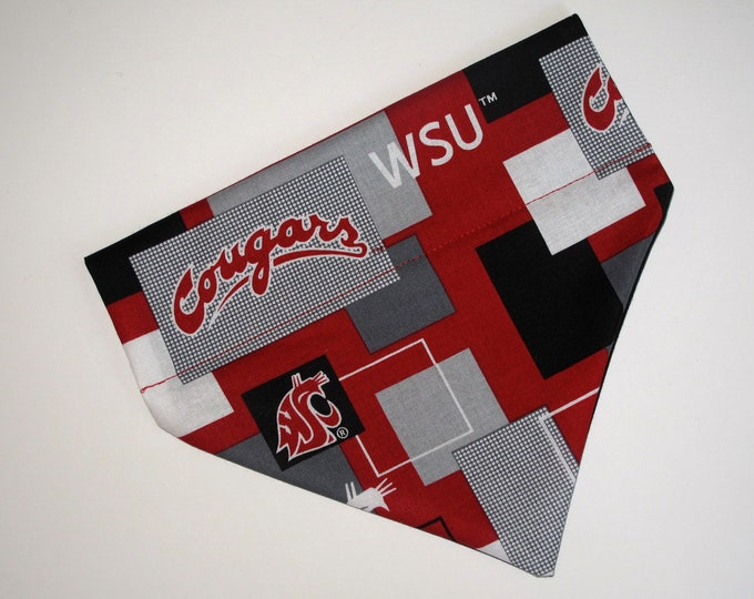 No-Tie, Slip Over Collar Dog Bandana, Washington State University Cougars Team Fabric