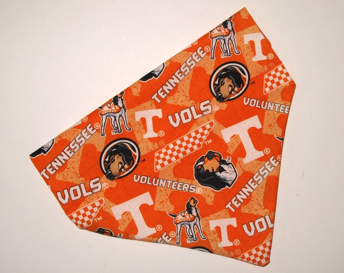 No-Tie, Slip Over Collar Dog Bandana, Univ. of Tennessee, Team Fabric (collar not included)