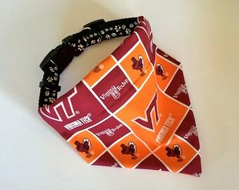 Virginia Tech, No-Tie, Slip Over Collar Dog Bandana, Virginia Tech Classic Square Design (collar not included)